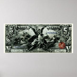 Los 1896 E.E.U.U. certificado de plata de cinco dó Impresiones