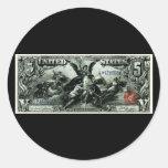 Los 1896 E.E.U.U. certificado de plata de cinco dó Pegatina Redonda