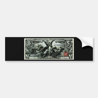 Los 1896 E.E.U.U. certificado de plata de cinco dó Pegatina Para Auto