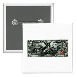 Los 1896 E.E.U.U. certificado de plata de cinco dó Pin Cuadrada 5 Cm