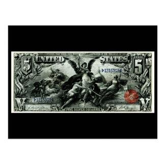 Los 1896 E.E.U.U. certificado de plata de cinco dó Tarjetas Postales