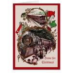 los 1900s se dirigen para el tren del navidad tarjeta