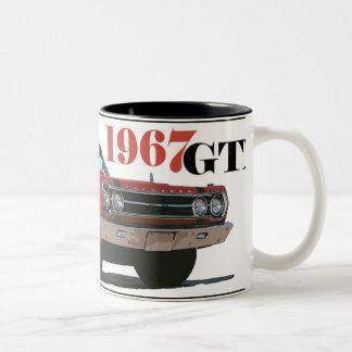 LOS 1967 GTX ROJOS TAZA DE CAFÉ DE DOS COLORES