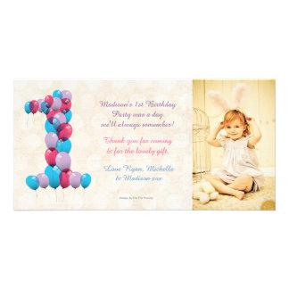Los 1ros globos del cumpleaños del bebé le agradec tarjetas con fotos personalizadas