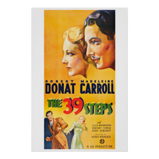 Los 39 pasos - cartel de película del vintage póster