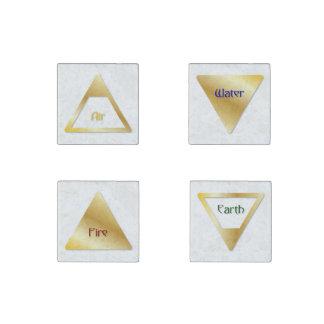 Los 4 símbolos de los elementos - aire, fuego, imán de piedra