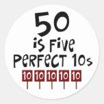 ¡los 50.os regalos de cumpleaños, 50 son 5 10s etiquetas redondas
