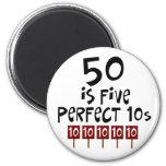 ¡los 50.os regalos de cumpleaños, 50 son 5 10s per imán para frigorífico