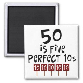 ¡los 50.os regalos de cumpleaños, 50 son 5 10s per imán cuadrado