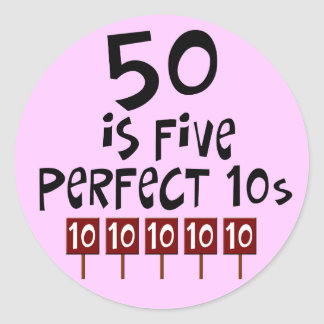 ¡los 50 os regalos de cumpleaños 50 son 5 10s per etiqueta redonda