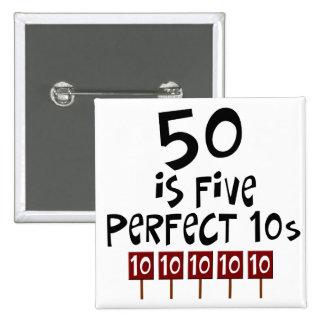 ¡los 50.os regalos de cumpleaños, 50 son 5 10s per pin cuadrado