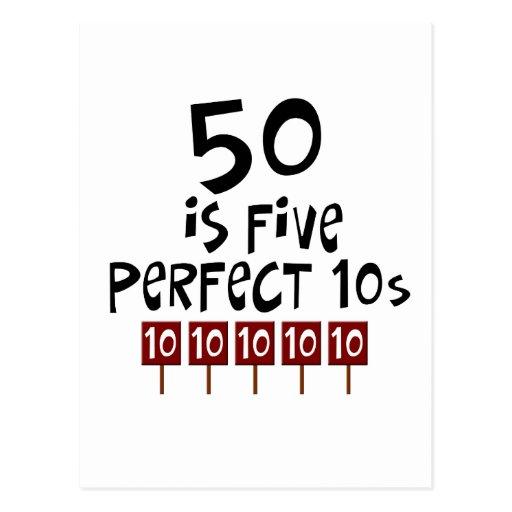 ¡los 50.os regalos de cumpleaños, 50 son 5 10s postal