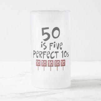 ¡los 50.os regalos de cumpleaños, 50 son 5 10s taza de cristal