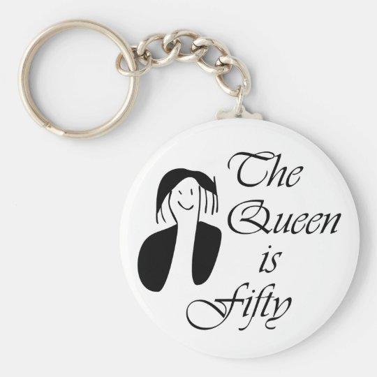los 50.os regalos de cumpleaños, la reina son 50 - llavero redondo tipo pin