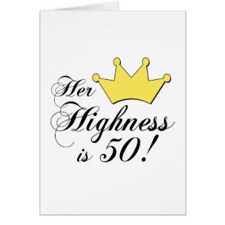 ¡los 50.os regalos de cumpleaños, su alteza son 50 tarjeta
