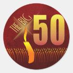 los 50 pegatinas GRANDES del cumpleaños Pegatina Redonda