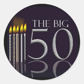 Los 50 pegatinas negros grandes del cumpleaños pegatina redonda