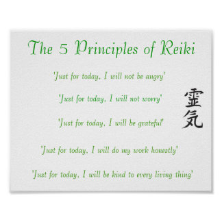 Los 5 principios de poster de Reiki