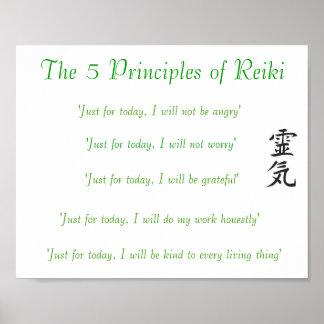 Los 5 principios de poster de Reiki Póster