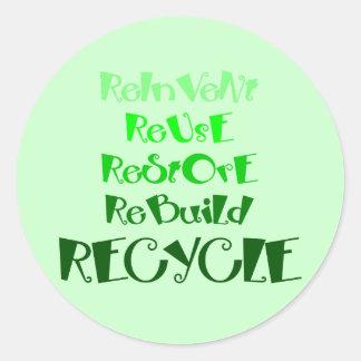 Los 5 r de reciclaje etiquetas redondas