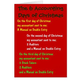 Los 6 días de contabilidad de navidad tarjeta de felicitación