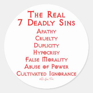 Los 7 pecados mortales REALES Pegatina Redonda