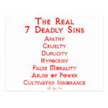 Los 7 pecados mortales REALES Tarjeta Postal