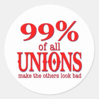 Los 99% de todas las uniones hacen el malo de la pegatina redonda