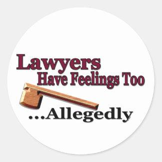 Los abogados tienen sensaciones también… alegado pegatina redonda