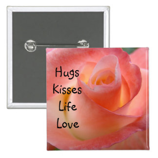 Los abrazos besan a tarjetas del día de San Valent Pin Cuadrada 5 Cm