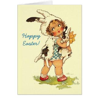 Los abrazos de conejito de los saludos de Pascua c Tarjeta Pequeña