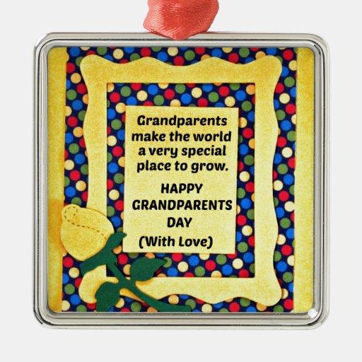 Los abuelos hacen el mundo un lugar especial… adorno navideño cuadrado de metal