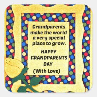 Los abuelos hacen el mundo un lugar especial… pegatinas cuadradas personalizadas