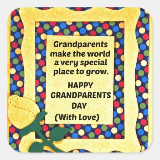 Los abuelos hacen el mundo un lugar especial… pegatina cuadrada