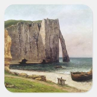 Los acantilados en Etretat 1869 Calcomanía Cuadradase