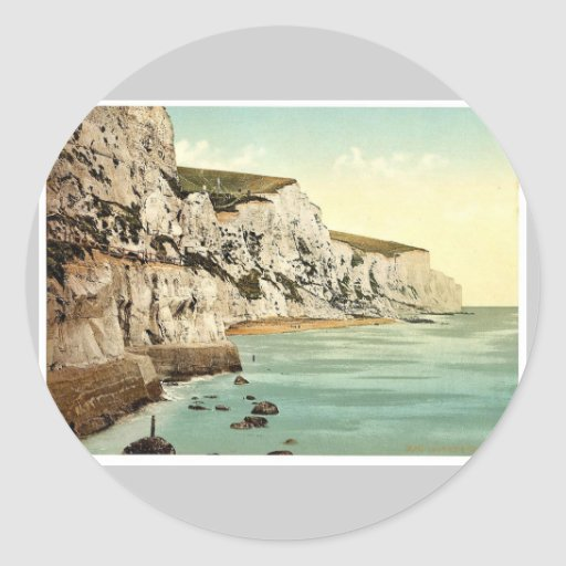 Los acantilados, obra clásica Photochrom de Dover, Etiqueta Redonda