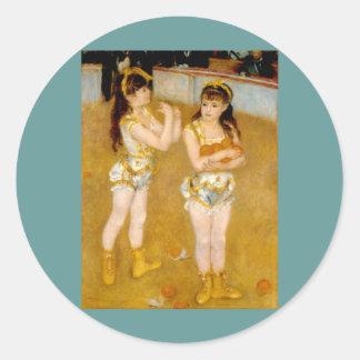 Los acróbatas de Renoir en el Cirque Fernando Pegatina Redonda