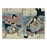Los actores por Utagawa, Kuniyasu Tarjetón