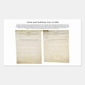 Los actos 1798 del extranjero y de la sedición pegatina rectangular