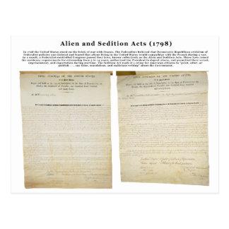 Los actos 1798 del extranjero y de la sedición postales