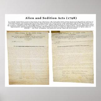 Los actos 1798 del extranjero y de la sedición póster