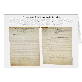 Los actos 1798 del extranjero y de la sedición tarjeta de felicitación