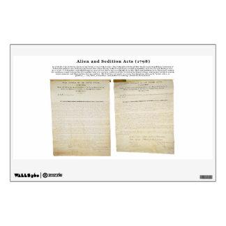 Los actos 1798 del extranjero y de la sedición vinilo adhesivo