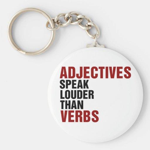 Los adjetivos hablan más ruidosamente que verbos llavero redondo tipo pin