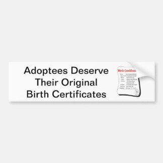 Los adoptados merecen OBCs Etiqueta De Parachoque