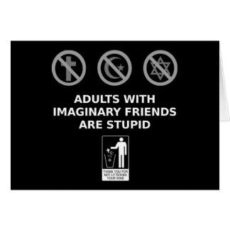 Los adultos con los amigos imaginarios son tarjeta de felicitación