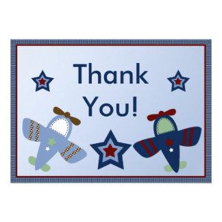 Los aeroplanos adorables aviador le agradecen card comunicado