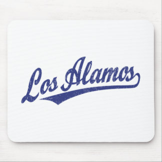 Los Alamos script logo in blue distressed Mousepads