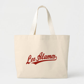 Los Alamos script logo in red Bags