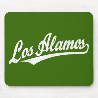 Los Alamos script logo in white distressed Mouse Pads